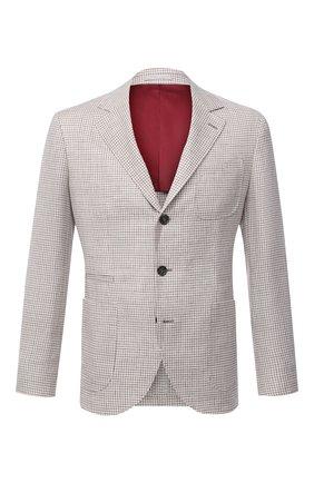 Мужской пиджак изо льна и шерсти BRUNELLO CUCINELLI бежевого цвета, арт. MW4407BND | Фото 1