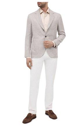 Мужской пиджак изо льна и шерсти BRUNELLO CUCINELLI бежевого цвета, арт. MW4407BND | Фото 2