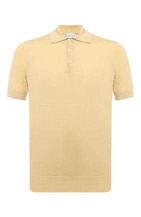 Мужское хлопковое поло  BRUNELLO CUCINELLI желтого цвета, арт. M29800125 | Фото 1 (Длина (для топов): Стандартные; Материал внешний: Хлопок; Стили: Кэжуэл; Рукава: Короткие; Кросс-КТ: Трикотаж; Застежка: Пуговицы)