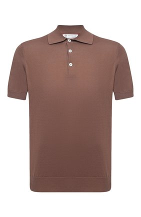 Мужское хлопковое поло  BRUNELLO CUCINELLI коричневого цвета, арт. M29800125   Фото 1