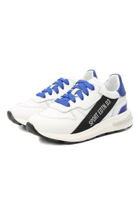 Детские кожаные кроссовки DSQUARED2 белого цвета, арт. 66934/KIPS/GUM/18-27 | Фото 1