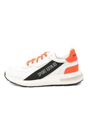 Детские кожаные кроссовки DSQUARED2 белого цвета, арт. 66934/KIPS/GUM/36-41 | Фото 2