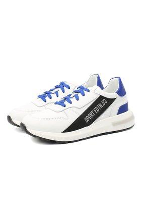 Детские кожаные кроссовки DSQUARED2 белого цвета, арт. 66934/KIPS/GUM/36-41 | Фото 1