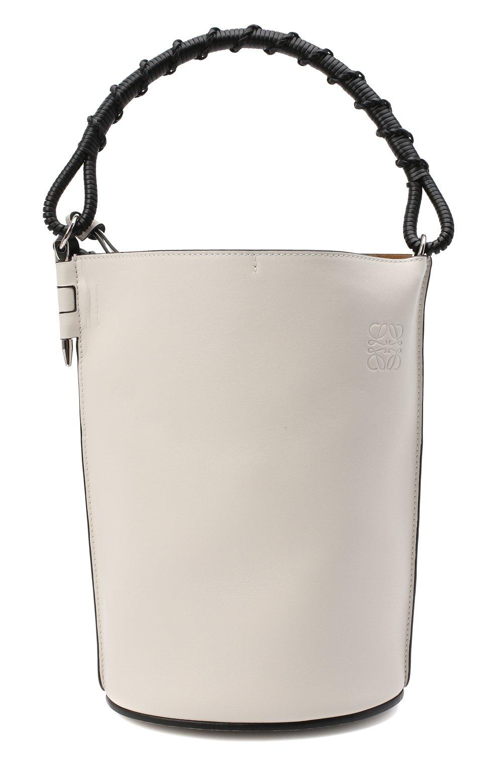 Женская сумка gate bucket LOEWE белого цвета, арт. 329.56.Z85   Фото 1 (Сумки-технические: Сумки через плечо, Сумки top-handle; Размер: medium, small; Материал: Натуральная кожа; Ремень/цепочка: На ремешке)