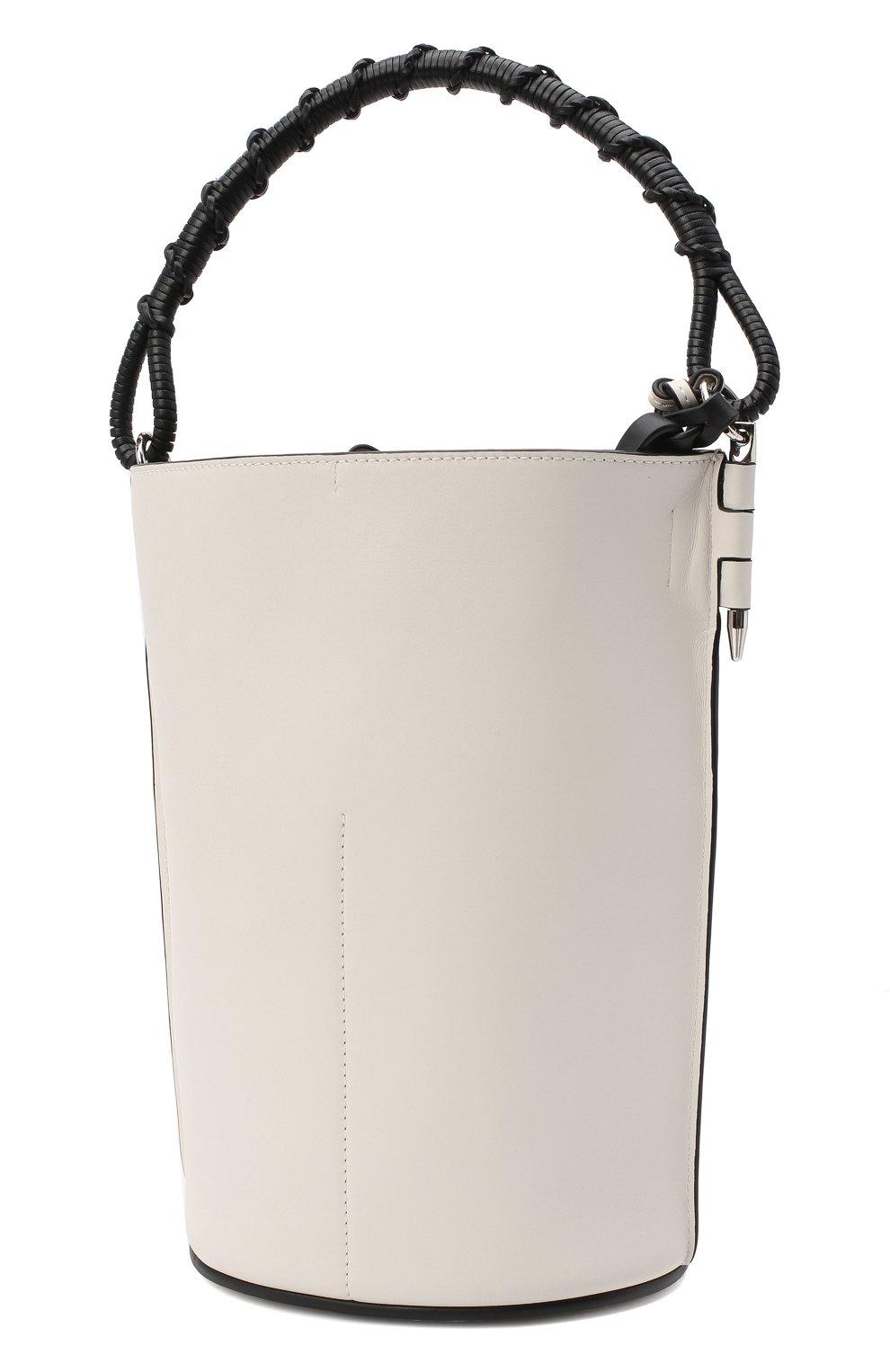 Женская сумка gate bucket LOEWE белого цвета, арт. 329.56.Z85   Фото 3 (Сумки-технические: Сумки через плечо, Сумки top-handle; Размер: medium, small; Материал: Натуральная кожа; Ремень/цепочка: На ремешке)