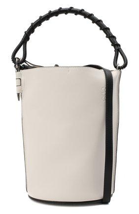 Женская сумка gate bucket LOEWE белого цвета, арт. 329.56.Z85   Фото 6 (Сумки-технические: Сумки через плечо, Сумки top-handle; Размер: medium, small; Материал: Натуральная кожа; Ремень/цепочка: На ремешке)