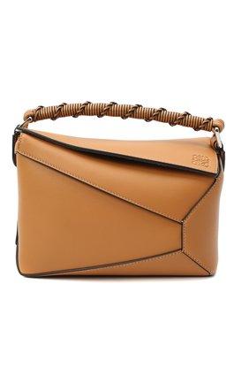 Женская сумка puzzle small LOEWE темно-бежевого цвета, арт. A510P60X01   Фото 1 (Ремень/цепочка: На ремешке; Материал: Натуральная кожа; Сумки-технические: Сумки top-handle, Сумки через плечо; Размер: small)