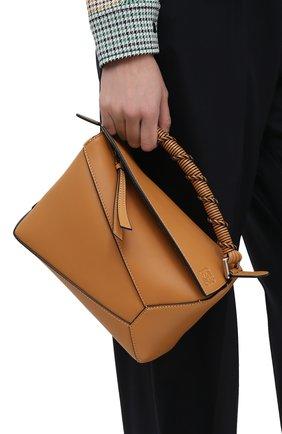 Женская сумка puzzle small LOEWE темно-бежевого цвета, арт. A510P60X01   Фото 2 (Ремень/цепочка: На ремешке; Материал: Натуральная кожа; Сумки-технические: Сумки top-handle, Сумки через плечо; Размер: small)