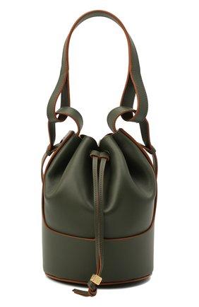 Женская сумка balloon LOEWE хаки цвета, арт. A710C31X31 | Фото 1 (Сумки-технические: Сумки top-handle, Сумки через плечо; Ремень/цепочка: На ремешке; Размер: small; Материал: Натуральная кожа)