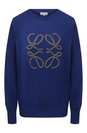 Женский шерстяной пуловер LOEWE синего цвета, арт. S359333XAZ   Фото 1