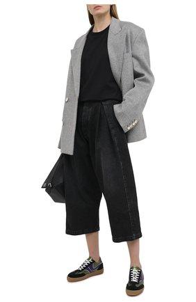 Женская хлопковая футболка LOEWE черного цвета, арт. S359333XBW   Фото 2 (Материал внешний: Хлопок; Принт: Без принта; Рукава: Короткие; Стили: Классический; Длина (для топов): Удлиненные; Женское Кросс-КТ: Футболка-одежда)