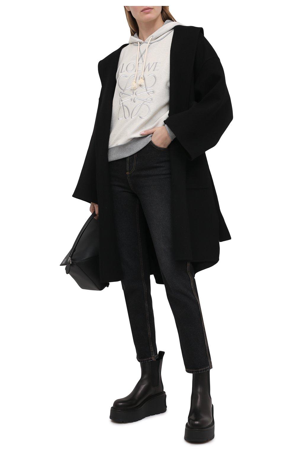 Женское шерстяное пальто LOEWE черного цвета, арт. S359336XCH   Фото 2