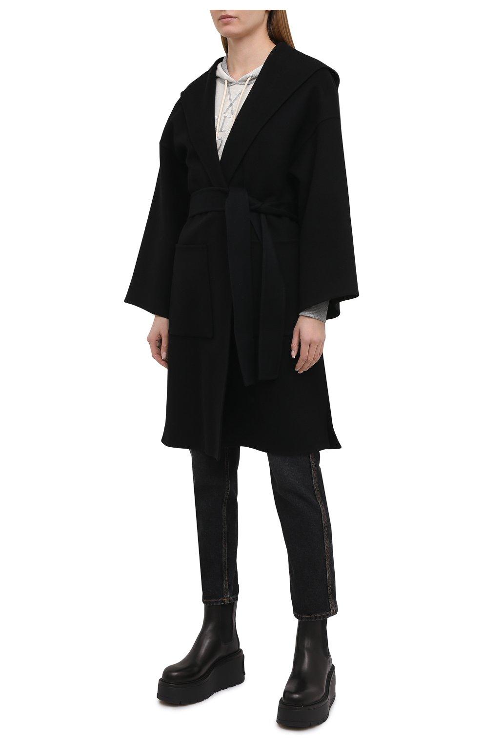 Женское шерстяное пальто LOEWE черного цвета, арт. S359336XCH   Фото 3