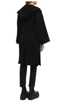 Женское шерстяное пальто LOEWE черного цвета, арт. S359336XCH   Фото 4