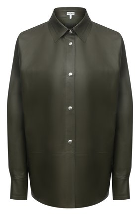 Женская кожаная рубашка LOEWE хаки цвета, арт. S359337XBW | Фото 1