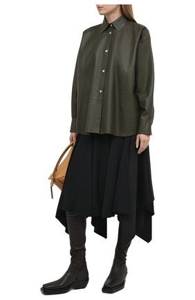 Женская кожаная рубашка LOEWE хаки цвета, арт. S359337XBW | Фото 2