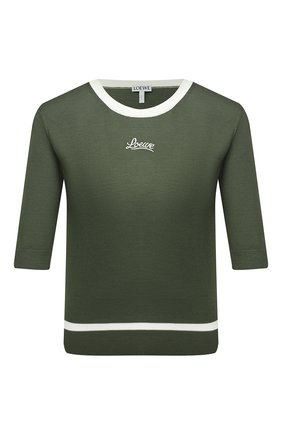 Женский шерстяной пуловер LOEWE хаки цвета, арт. S817Y14K27 | Фото 1