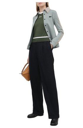 Женский шерстяной пуловер LOEWE хаки цвета, арт. S817Y14K27 | Фото 2