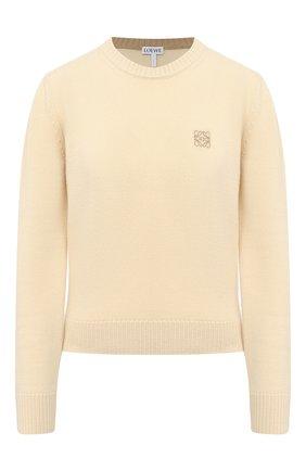 Женский шерстяной пуловер LOEWE желтого цвета, арт. S817Y14K33   Фото 1 (Женское Кросс-КТ: Пуловер-одежда; Рукава: Длинные; Стили: Классический; Длина (для топов): Стандартные; Материал внешний: Шерсть)