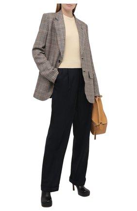 Женский шерстяной пуловер LOEWE желтого цвета, арт. S817Y14K33   Фото 2 (Женское Кросс-КТ: Пуловер-одежда; Рукава: Длинные; Стили: Классический; Длина (для топов): Стандартные; Материал внешний: Шерсть)