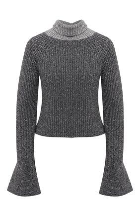 Женский свитер из шерсти и вискозы LOEWE серого цвета, арт. S359333XB3 | Фото 1 (Материал внешний: Шерсть; Женское Кросс-КТ: Свитер-одежда; Рукава: Длинные; Длина (для топов): Укороченные; Стили: Романтичный)