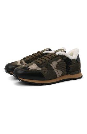Мужские комбинированные кроссовки rockrunner VALENTINO хаки цвета, арт. VY2S0723/NJE   Фото 1 (Материал внешний: Текстиль; Подошва: Массивная; Материал утеплителя: Натуральный мех; Стили: Гранж)