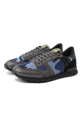 Мужские комбинированные кроссовки rockrunner valentino garavani VALENTINO синего цвета, арт. VY2S0723/QRK | Фото 1