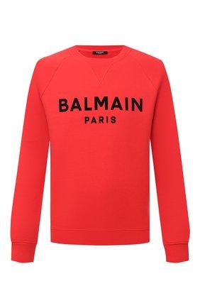 Мужской хлопковый свитшот BALMAIN красного цвета, арт. VH1JQ005/B042 | Фото 1