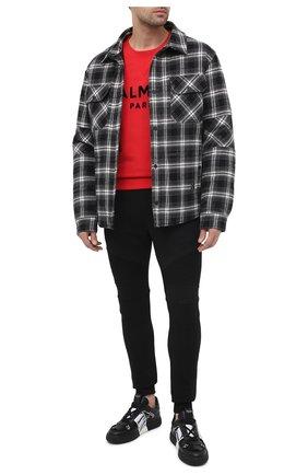 Мужской хлопковый свитшот BALMAIN красного цвета, арт. VH1JQ005/B042 | Фото 2