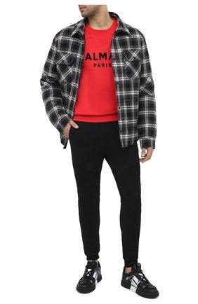 Мужские хлопковые джоггеры BALMAIN черного цвета, арт. VH10B000/B034 | Фото 2