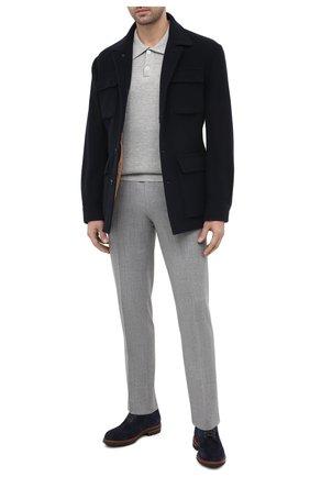 Мужское поло изо льна и хлопка BRUNELLO CUCINELLI светло-серого цвета, арт. M2L703205 | Фото 2
