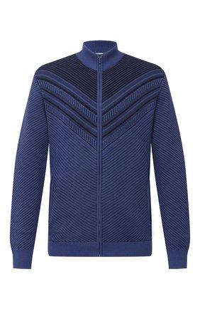 Мужской кардиган из шерсти и шелка ZILLI SPORT синего цвета, арт. MBU-BL605-FASH9/ML01 | Фото 1