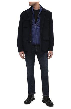 Мужской кардиган из шерсти и шелка ZILLI SPORT синего цвета, арт. MBU-BL605-FASH9/ML01 | Фото 2