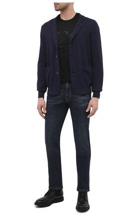 Мужская хлопковая футболка ZILLI черного цвета, арт. MBU-NT305-LI0N1/MC01 | Фото 2 (Материал внешний: Хлопок; Стили: Кэжуэл; Длина (для топов): Стандартные; Рукава: Короткие)