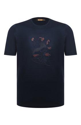 Мужская хлопковая футболка ZILLI темно-синего цвета, арт. MBU-NT305-LI0N1/MC01   Фото 1