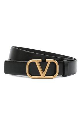 Мужской кожаный ремень valentino garavani VALENTINO черного цвета, арт. VY2T0Q90/ECU | Фото 1