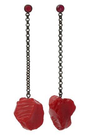 Женские серьги gather DZHANELLI красного цвета, арт. D_E12 | Фото 1 (Материал: Серебро)