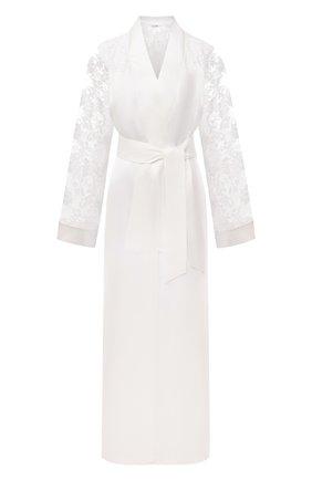 Женский шелковый халат LA PERLA белого цвета, арт. 0040270 | Фото 1