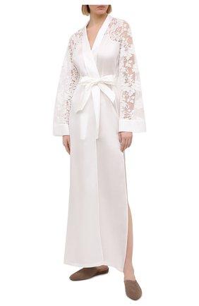 Женский шелковый халат LA PERLA белого цвета, арт. 0040270 | Фото 2