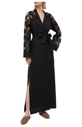 Женский шелковый халат LA PERLA черного цвета, арт. 0040270 | Фото 2