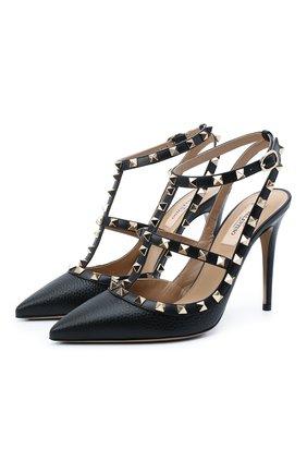 Женские кожаные туфли valentino garavani rockstud VALENTINO черного цвета, арт. VW2S0393/VCE | Фото 1