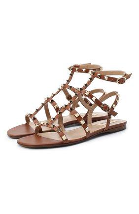 Женские кожаные сандалии valentino garavani rockstud VALENTINO коричневого цвета, арт. VW2S0A05/V0D | Фото 1