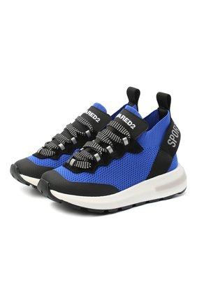 Детские кроссовки DSQUARED2 синего цвета, арт. 66936/T0MAIA/CR0STA/SCUBA/28-35 | Фото 1