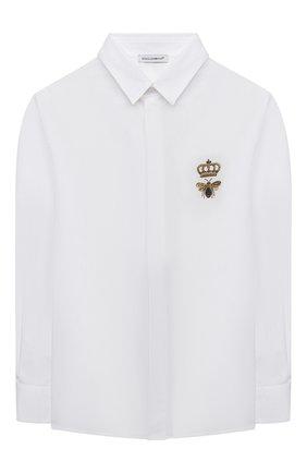 Детская хлопковая рубашка DOLCE & GABBANA белого цвета, арт. L43S14/G7YFM/8-14 | Фото 1 (Материал внешний: Хлопок; Рукава: Длинные; Ростовка одежда: 10 - 11 лет | 140 - 146см, 12 лет | 152 см, 8 лет | 128 см)