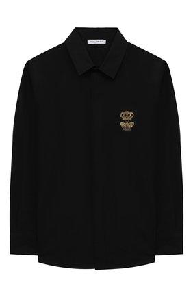 Детская хлопковая рубашка DOLCE & GABBANA черного цвета, арт. L43S14/G7YFM/2-6 | Фото 1