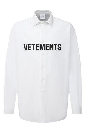 Мужская хлопковая рубашка VETEMENTS белого цвета, арт. UE51SH300W 1004/M   Фото 1