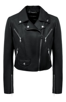 Женская кожаная куртка DOLCE & GABBANA черного цвета, арт. F9I26L/HULF5 | Фото 1