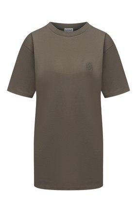 Женская хлопковая футболка LOEWE хаки цвета, арт. S359333XBW | Фото 1