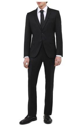 Мужской шерстяной костюм BOSS черного цвета, арт. 50444224 | Фото 1 (Стили: Классический; Костюмы М: Однобортный; Рукава: Длинные; Материал внешний: Шерсть)