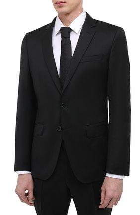 Мужской шерстяной костюм BOSS черного цвета, арт. 50444224 | Фото 2 (Стили: Классический; Костюмы М: Однобортный; Рукава: Длинные; Материал внешний: Шерсть)